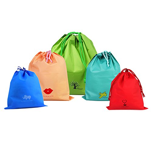 Muryobao Waterproof Drawstring Bags PE Plastic Folding Sport Home Travel Storage Use