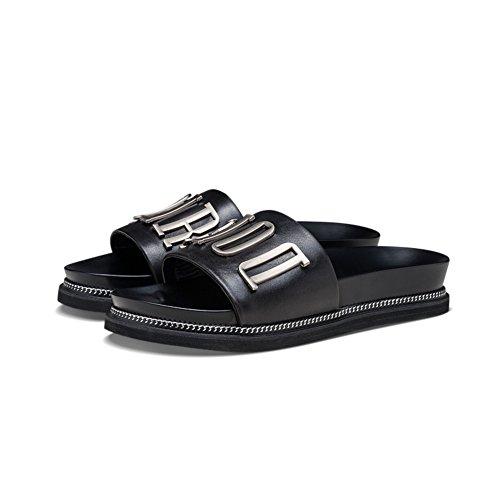 Zapatillas de cuero hebilla lateral/Zapatillas de verano de moda D