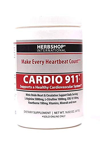 Cardio 911 Heart Health Nitric Oxide (16.82 Ounce Powder with Scoop) Tart Cherry Flavor L-Arginine Supplement 5000mg + L-Citrulline 1000mg,16.82 Ounces