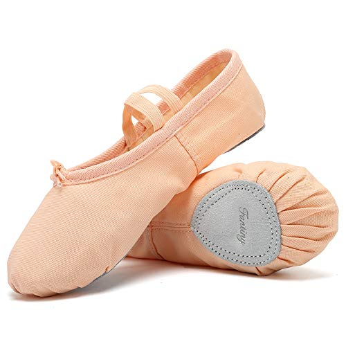 CIOR Ballet Slippers Canvas Dance Shoes Gymnastics Yoga Flats(Toddler/Little/Big Kid/Women) Skin