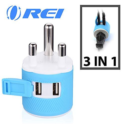Orei U2U-10L South Africa, Botswana, Namibia Travel Plug Adapter - Dual USB - Surge Protection - Type M