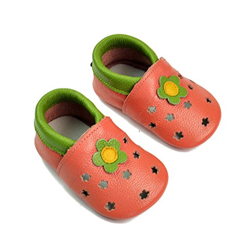 fygood Baby Soft Sole zapatos de piel Zapatitos para verano blanco blanco Talla:L:12-18months/inner length:5.11in red flower