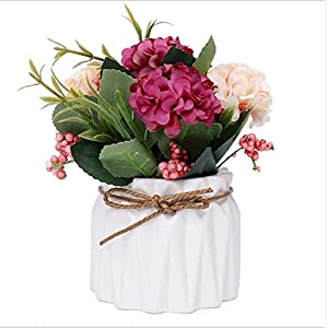 cherrycherish Artificial Flowers Potted Plant Hydrangea Wedding Home Decoration, Fake Faux Silk Flowers a Cluster of Flowers with Vase Wedding Floral Bouquet Decoration for Home Garden Party 41