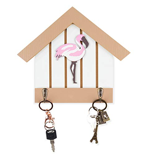 (Key Holder for Wall - Flamingo Wall Mounted Key Hook, Wooden Key Hanger Rack, 9 x 1.5 x 7.7 Inches)