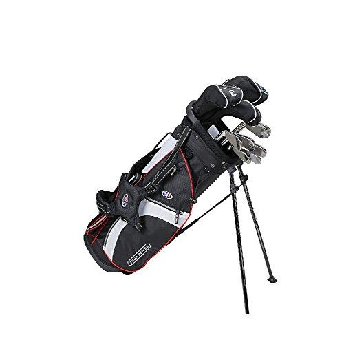 US KIDS GOLF Tour Series 10 Club Stand Junior Set Bag, Black/White/Red, Size 51