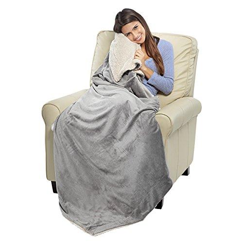 Oversized Micro Mink Sherpa Throw (Grey) ()