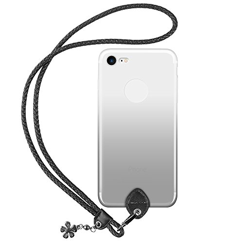 pzoz Case Compatible iPhone 7/8 Case, Silicone Lanyard Case Cover Holder Long Hanging Neck Wrist Strap Outdoors Travel Necklace Compatible iPhone 7/iPhone 8 (NOT Plus) (Clear Black)