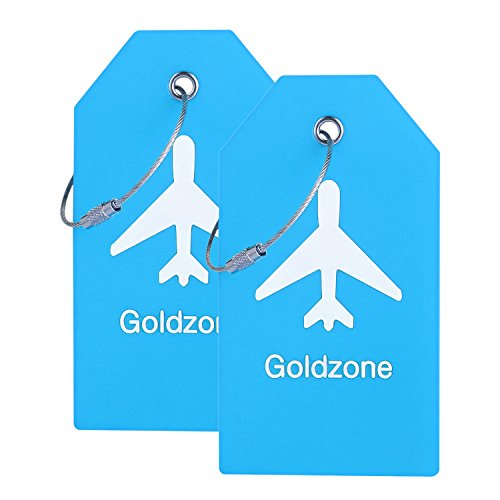 PVC Rubber Luggage Tags w/Full Privacy Flap,Great for Luggage Cases Identification by Goldzone (Blue-2 Pack)