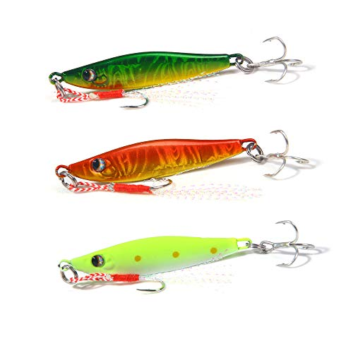 AMHDV Fishing Spoons Jigging Fishing Lure with Feather Treble Hook for Trout Bass Walleyes Spinner Baits 8g 14g (Pack of 3) (Type 2-3PCS, 8g/0.28oz)