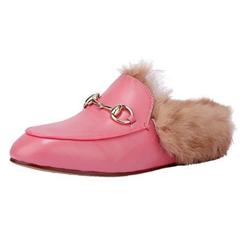 Enmayer Donna Mocassini Moda Retrò Nero Punta Rotonda Slip On Flat Pantofole Piatte Con Furry E Fibbia Rosa (velluto)