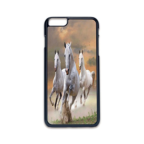 Phone Case Compatible with iPhone6 plus iPhone6s plus 2D print Black edge,Animal Decor,Stallion Horses Running on a Mystical Sky Background Equestrian Male Champions Print,White Orange,Hard Plastic Ph