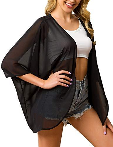 (a.Jesdani Women's Kimono Floral Print Chiffon Cardigan Capes Beach Swimwear Cover Up Black 4 L/XL)