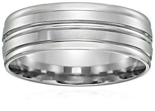 Men's 10k White Gold 8mm Comfort Fit Round Edge Plain Wed...