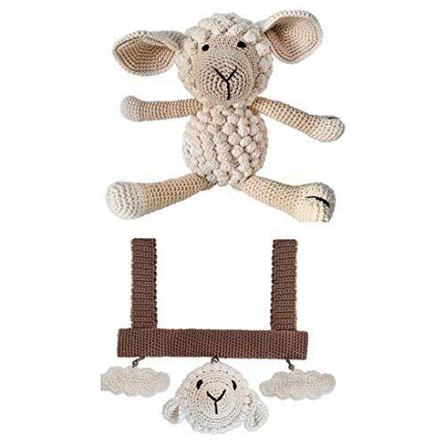 LOOP BABY - Geschenkset Baby: Spielbogen fü r Babyschale & groß es gehä keltes Schaf aus Bio-Baumwolle - Geschenk fü r Geburt, Babyshower, Taufe