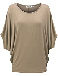 LL Womens Solid/Ombre Scoop Neck Half Sleeve Batwing Dolman Top - Made In USA