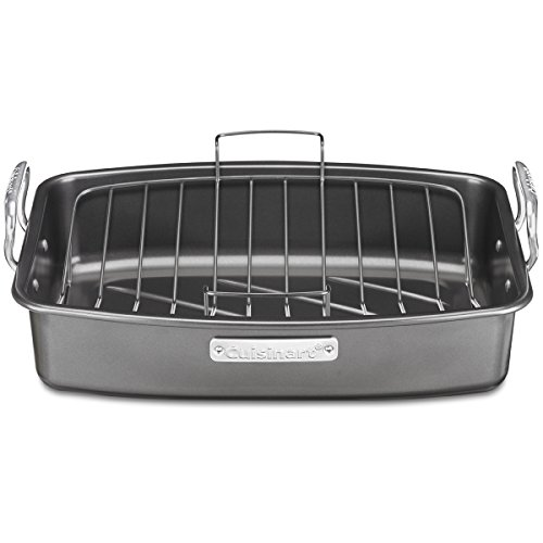 CUISINART 17-Inch X 13-Inch Non-Stick Roasting Pan with V-Rack, ASR-1713VC, Dark Gray