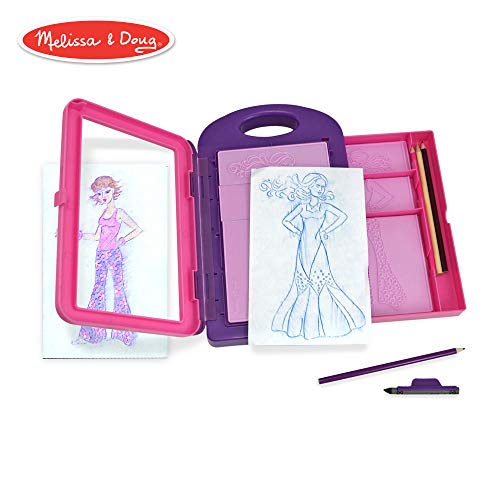 Melissa & Doug Fashion Design Activity Kit (Arts & Crafts, 9 Double-Sided Rubbing Plates, 4 Pencils, Crayon, 16 Pieces)