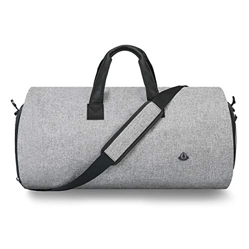 BUG Garment Bag for Travel,Suit Bags for Men Travel,Convertible Garment Bag -  2 in 1 Hanging Suit Travel Bags for Men,Light Gray - 2019 UPGRADE