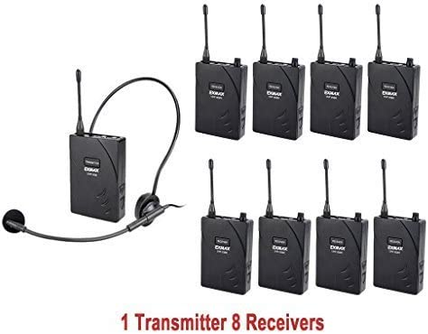 1 Transmitter and 8 Receivers EXMAX UHF-938 UHF Acoustic Transmission Wireless Headset Microphone Audio Tour Guide System 433MHz for Church Translation Teaching Travel Simultaneous Interpretation.