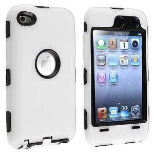 Importer520 (TM) 3-Piece Deluxe Hybrid Premium Rugged Hard Soft Case Skin Cover for Apple iPod Touch 4G, 4th Generation, 4th Gen 8GB / 32GB / 64GB - White / (Ipod 8gb 4th Gen)