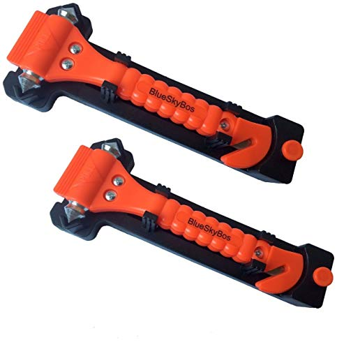 BlueSkyBos Value 2 Pack - Emergency Escape Tool Auto Car Window Glass Hammer Breaker and Seat Belt Cutter Escape 2-in-1 Tool ()