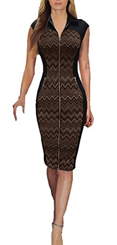 REPHYLLIS Women Vintage Zipper Cocktail Party Work Casual Pencil Dress (Medium, (Brown Juniors Dress)