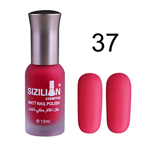 Long Wear Paint (12ml Matte Nail Polish,SMYTShop Quick Dry Finger Nail Polish Color Lacquer Fast Dry Long Lasting Nail Art Dull Nail Polish Gel (37))
