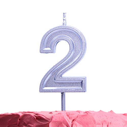 Get Fresh Number 2 Birthday Candle - Silver Number Two Candle on Stick - Elegant Silver Number Candles for Birthday Wedding Anniversary - Baby's 2nd Birthday Candle Cake Topper - Silver 2 Candle (Birthday Cake For 25 Year Old Boy)