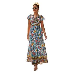 Aswinfon Vestido de Verano Mujer Largo Cuello V Manga Corta Flores Bohemio Vestido Maxi de Playa Dividida Alta | DeHippies.com