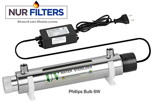 6 Watt UV Water sterilizer light Kit ULTRAViolet Phillips LAMP fits all 50GPD - 100GPD RO Reverse Osmosis Filters System on market 99.9% Bacteria KILLER 110 Volt Bulb Chrome housing (Light Sterilizer)
