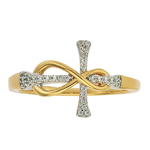 Diamond Infinity Cross Ring in 10Kt Yellow Gold