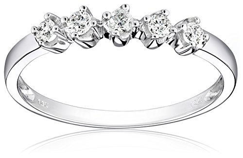 14k White Gold 5-Stone Shared-Prong Diamond Ring (1/4 cttw, I-J Color, I1-I2 Clarity), Size 6 by Amazon Collection