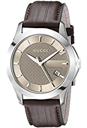 "Gucci Men's YA126403 ""G-Timeless"" Brown Dial Brown Leather Strap Watch"