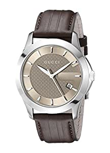 """Gucci G-Timeless"""" Brown Dial Brown Leather Strap Men's Watch(Model:YA126403)"""