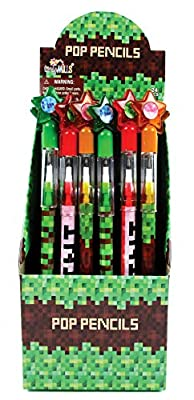 TINYMILLS 24 Pcs Pixel Miner Themed Multi Point Pencils