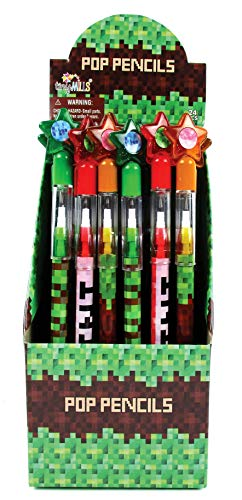 TINYMILLS 24 Pcs Pixel Miner Themed Multi Point Pencils]()