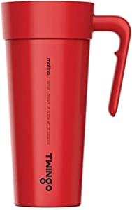 Twingo Modern Travel Mug Tumbler with Handle and Lid with Straw Hole, Double Wall Insulated, Stainless Steel, 16oz (Red)