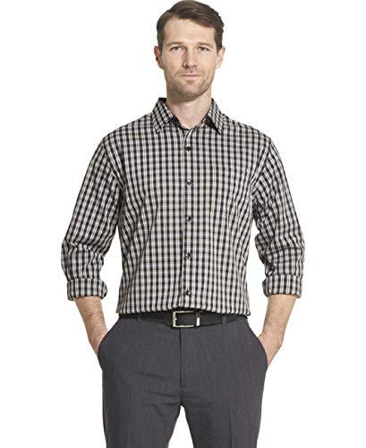 Van Heusen Men's Traveler Stretch Non Iron Long Sleeve Shirt, Black X-Large
