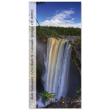 Kaieteur Falls Oversized Return Address Labels- Set of 60 Large Self-Adhesive, Flat-Sheet Labels, By Colorful Images
