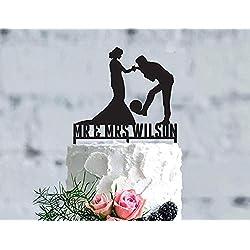 Soccer Wedding Cake Topper, Foldout Wedding Cake Topper, Personalized Soccer Cake Topper,Party Event Favors Decorations