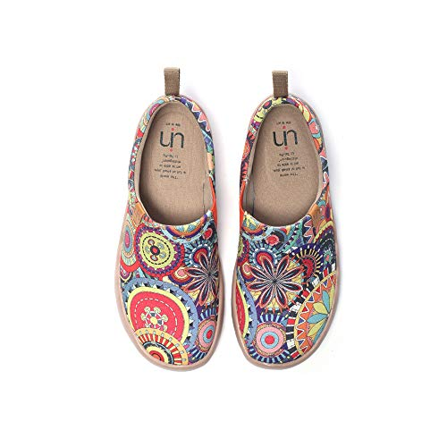 UIN Women's Blossom Painted Fashion Sneaker Canvas Slip-On Travel Shoes (7)