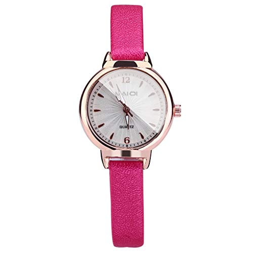(WoCoo Women's Quartz Watch,Fashion Embossed Sun Veins Dial Flat Glass Temperament Leather Belt Lady Watch(Hot Pink,Free Size))