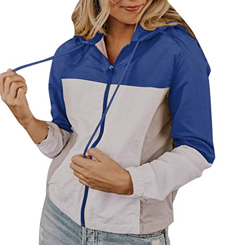 JustWin Women's Long Sleeve Hooded Sweater Zipper Multi-Color Tops Casual Autumn Stitching Hooded Retro Coat Blouse Blue (Outdoor Furniture Vogue)