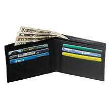 RFID Wallet in Genuine Leather Bifold 6 Slot - Protective Wallets for Men (Black)