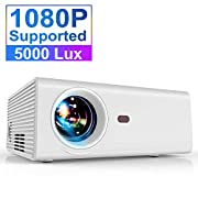 #LightningDeal Projector, YABER Portable Projector with 5000LUX 60,000 HRS LED Lamp Life, 1080P and 200'' Supported, Full HD Mini Movie Projector Compatible with Smartphone/Fire Stick/TV/PS4 Ideal for Home Theater