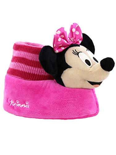 Minnie Mouse Disney Toddler Girls Plush 3D Minnie Head Sock Top Slippers (5-6 M US Toddler, Pink/Black) ()