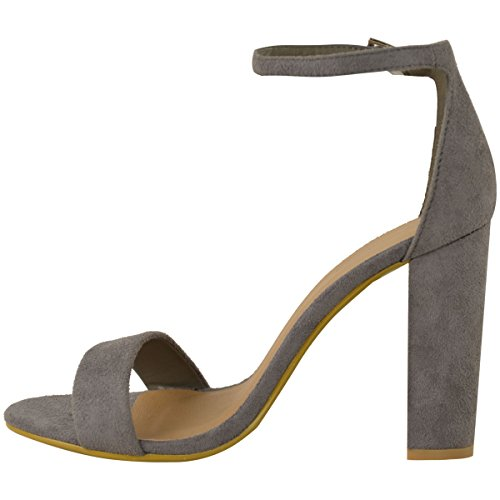 Heels Strap Suede Grey Ankle Fashion Block Toe Thirsty Sandals Womens Shoes Faux High Open Size T6IYq