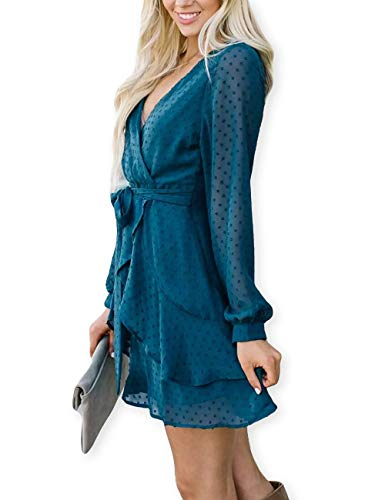 Women's Clothing Bright Sunjinacro Fashion Women Knitted Dresses Solid V-neck Long Sleeve Elegant Knitted Sweater Dress With Belt Summer Party Dress