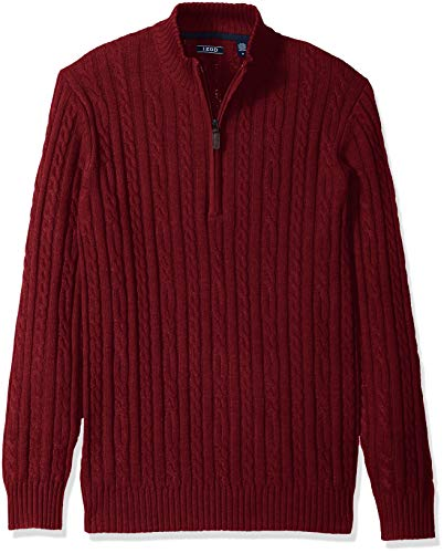 (IZOD Men's Premium Essentials Solid Quarter Zip 7 Gauge Cable Knit Sweater, Dark Biking red, Small)