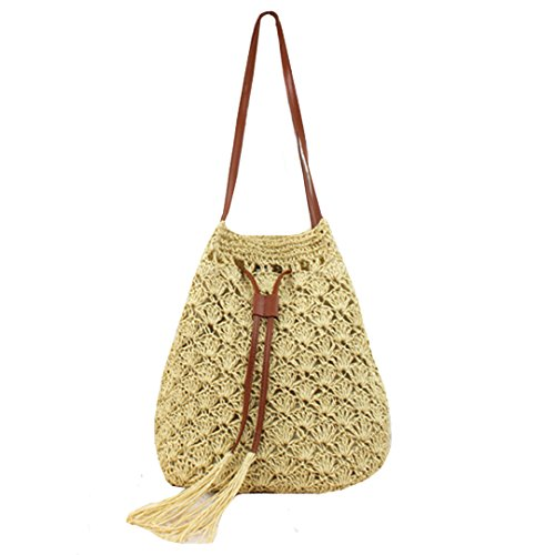 Sherry Bucket Bag Women Straw Summer Drawstring Handbag Purse Weave Shoulder Bags (Dark Beige)
